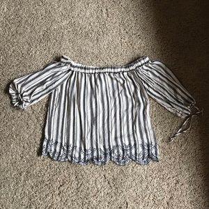 Blue Rain Tops - Francesca's Striped Embroidered Off The Shoulder